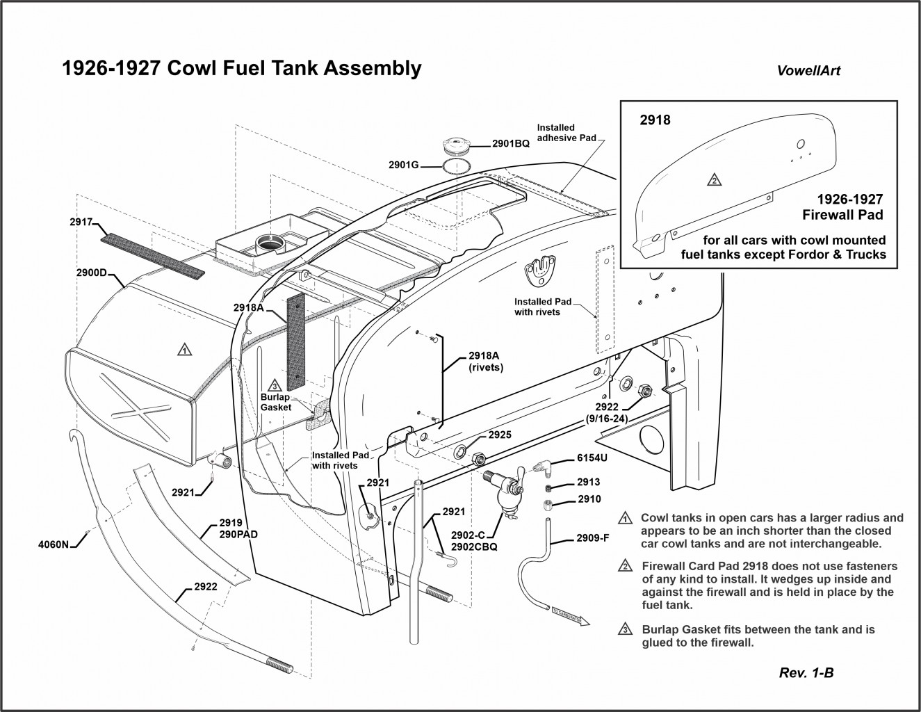 1926-1927 Cowl Fuel Tank Assembly