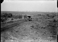 WW1 huge shell hole in captured ground, Grevillers, World War I 24 Aug 1918